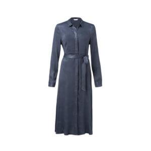 YAYA – Langes Shirt-Kleid mit Gürtel – Anthrazitblau