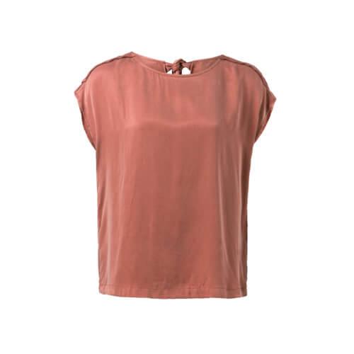 YAYA – Cupro-Shirt mit Schleife – Holzrot