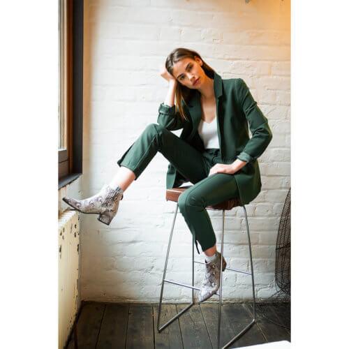 YAYA – Sportliche Hose mit Frontschlitzen – Jadegrün
