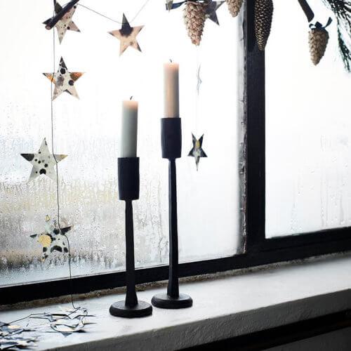 Madam Stoltz – 3er Set Kerzenhalter Handgeschmiedet – Schwarz