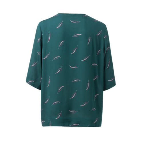 YAYA – Kurzarm Shirt mit Print – Jade Green