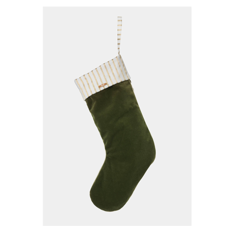 ferm LIVING – Weihnachtsstrumpf Samt – Tanne – ca. 18 x 48 cm
