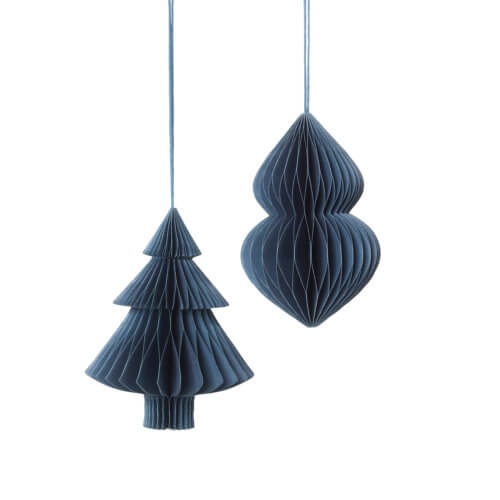 Broste Papier-Weihnachtsschmuck Blau 2er-Set