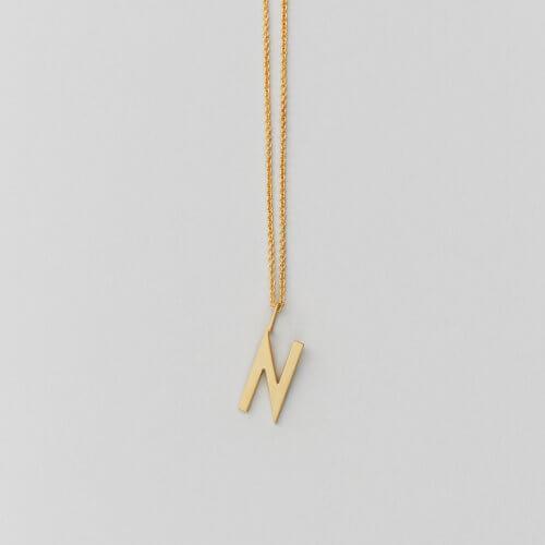 Design Letters – Kette mit Buchstabe N (16 mm)