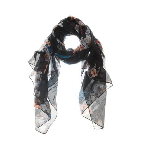 YAYA Tuch mit Blumenprint – Schwarz