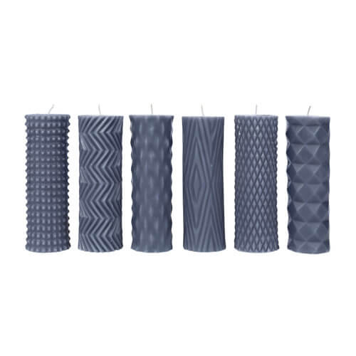 Broste Copenhagen Stumpenkerze Graublau – Rhomb