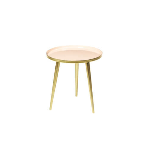 Broste Copenhagen Tisch JELVA S Helles Apricot Messing – Maße ca. Ø 35 x H 37 cm