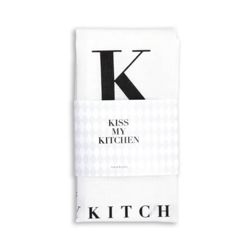 Kiss my Kitchen – Geschirrtuch – Textdruck Weiß-Schwarz