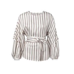 YAYA Bluse mit Plisse-Armen und Streifen