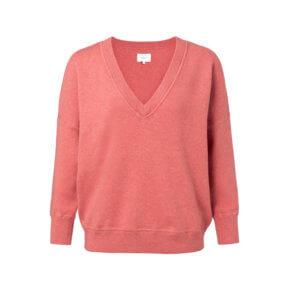YAYA Pullover mit V-Ausschnitt und tiefer Schulter – Koralle-Rot