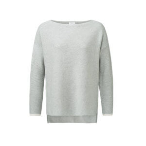 YAYA Pullover mit Bateau-Ausschnitt und Rippärmeln – Grau