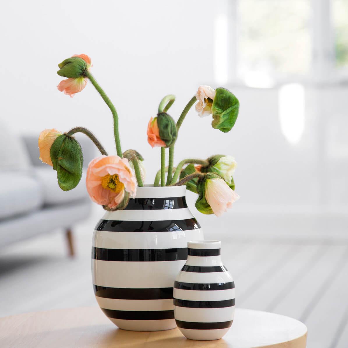k hler omaggio vase s schwarz wei gestreift 12 5 cm x. Black Bedroom Furniture Sets. Home Design Ideas
