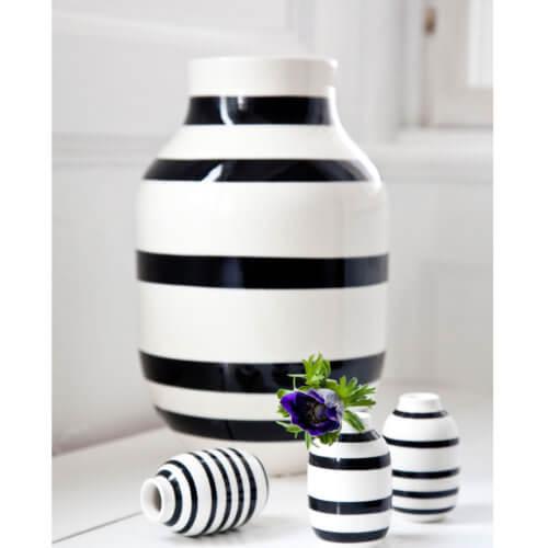 Kähler Omaggio Vase L Schwarz-Weiß – H 30,5 cm