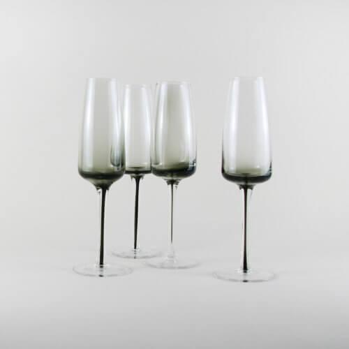 Broste Copenhagen 4er Set Champagnerglas SMOKE