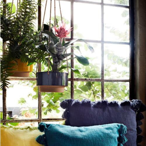 Madam Stoltz – Blumentopf hängend Zweifarbig Dunkelblau/Natur