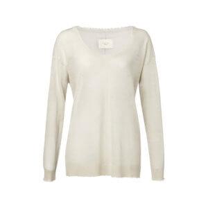 YAYA Feinstrick-Pullover aus Leinen mit offenen Schnittkanten – Cremé