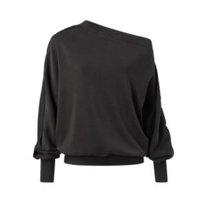 YAYA Modal Pullover Schulterfrei – Schwarz