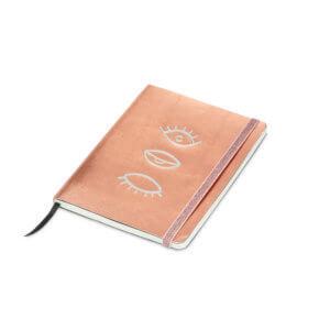 YAYA Notizbuch mit Metallic-Cover und Augen-Print – ca. B 15 x H21 cm