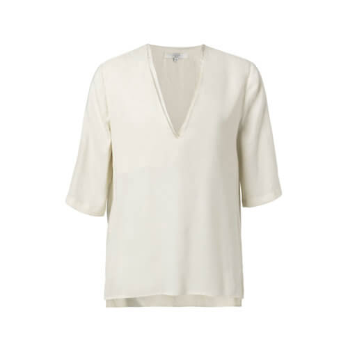 YAYA Cupro-Shirt im Materialmix Cremé-Weiß