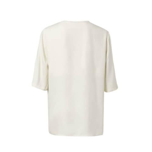 YAYA Cupro-Shirt im Materialmix Weiß mit V-Ausschnitt