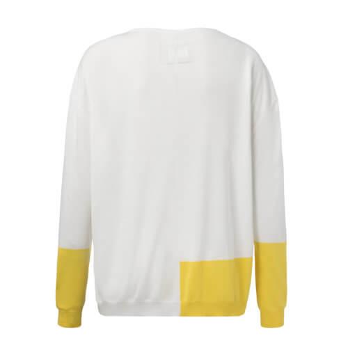 YAYA Pullover Rundhals –Weiß & Gelb