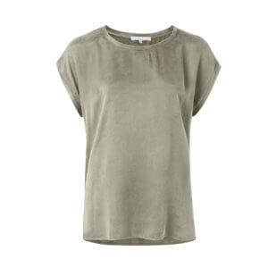YAYA Cupro-Shirt im Materialmix – Army Green
