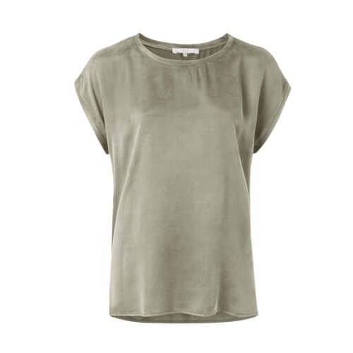 YAYA Cupro-Shirt im Materialmix – Army Green