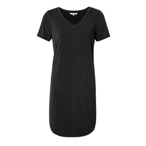 YAYA Modal Shirtkleid im Materialmix – Schwarz