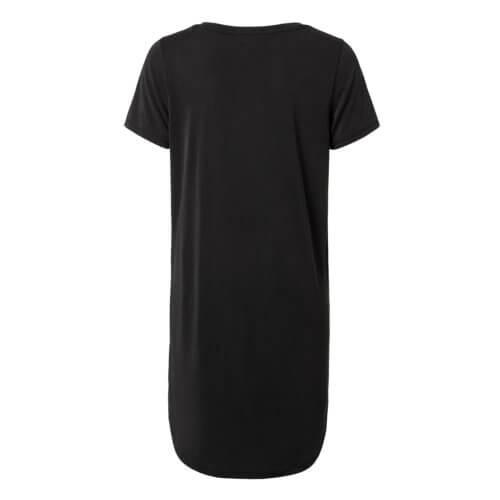 YAYA Cupro Shirtkleid im Jersey Materialmix – Schwarz