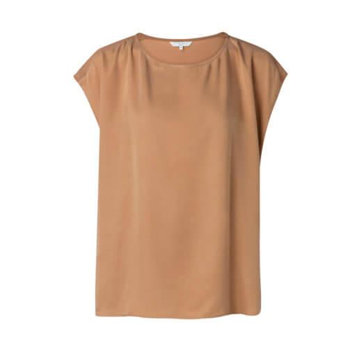 YAYA Cupro-Shirt im Materialmix – Caramel