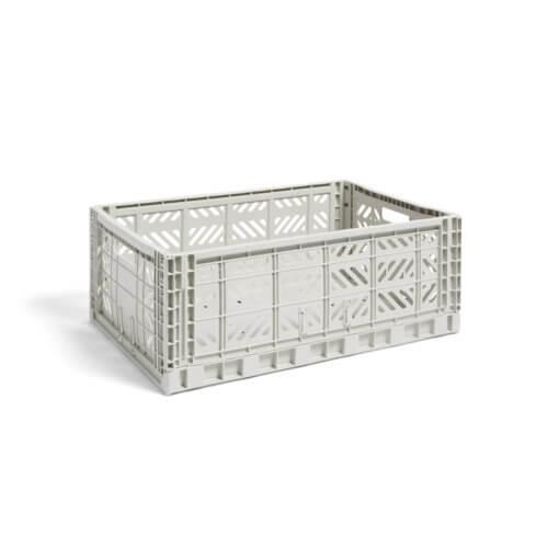 HAY Colour Crate L Aufbewahrungsbox – groß light grey, Klappbox in Hellgrau, aufgeklappt