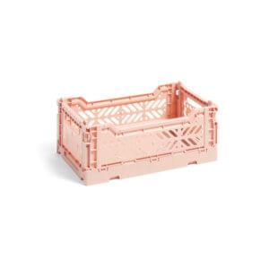 HAY Colour Crate S Aufbewahrungsbox – nude, klein, aufgeklappt