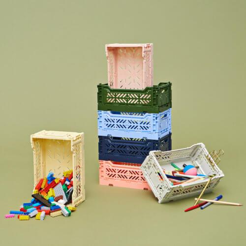 HAY Colour Crate Aufbewahrungsboxen – Kleine Klappboxen in verschiedenen Größen und Farben verfügbar