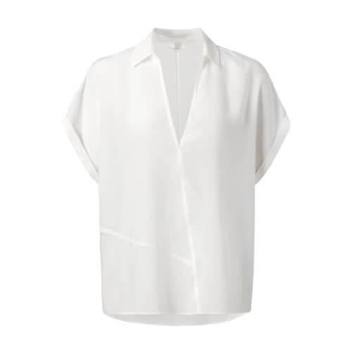 YAYA Bluse mit Ziernähten in Wickeloptik – Weiß