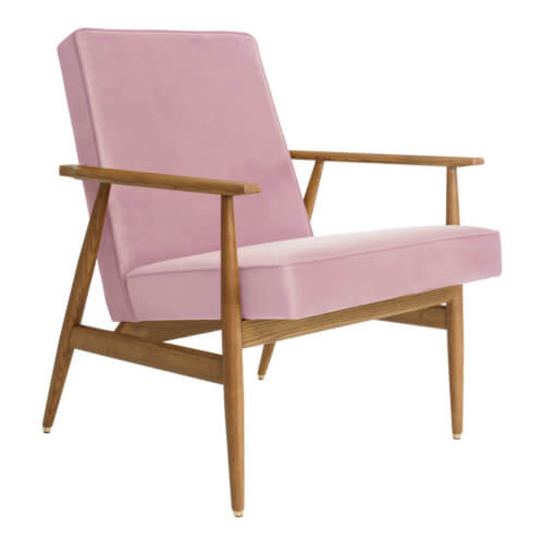 366 FOX Lounge Sessel – Kollektion Velvet, Farbe Powder Pink Samt