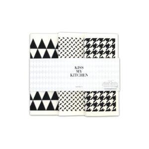Kiss my Kitchen Schwammtuch Set Tokio – Schwarz-Weiß