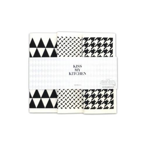 KMK Schwammtuch-Set Tokio Schwarz-Weiß