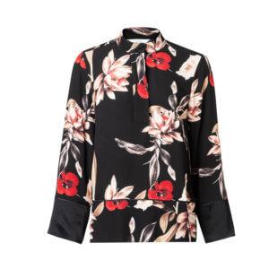 YAYA Kimono Bluse Schwarz mit floralem Design