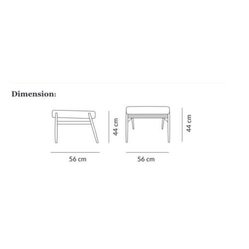 366 concept Footrest, Fox Series, Dimensions