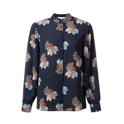 YAYA Bluse Nachtblau mit floralem Design