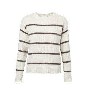 YAYA Chenille Pullover mit Streifen – Weiß
