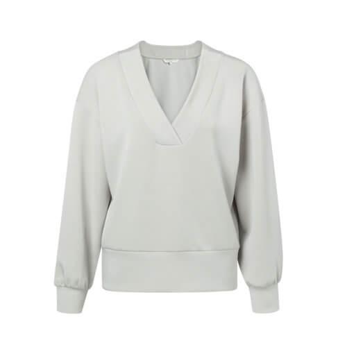 YAYA Modal Pullover Grau mit V-Ausschnitt