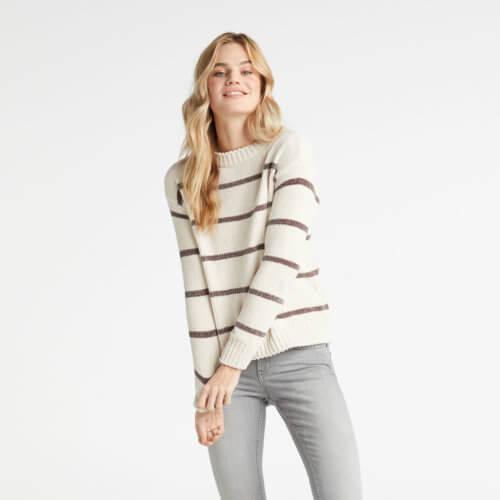 YAYA Weicher Streifen-Pullover Weiß