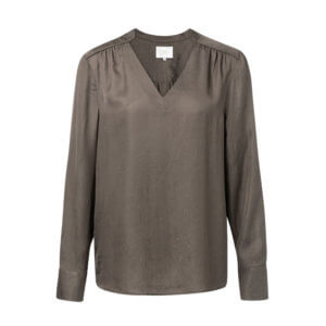 YAYA Jacquard Shirt Braun mit V-Ausschnitt