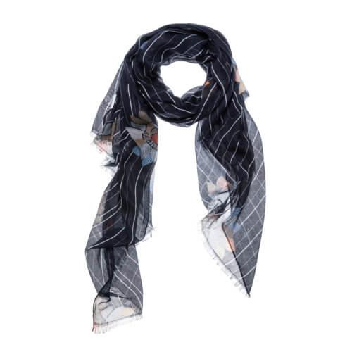 YAYA Schal Nachtblau mit floralem Design