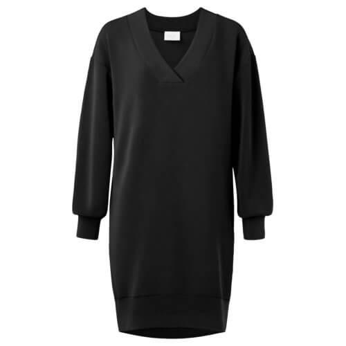 YAYA Modal Kleid mit V-Ausschnitt – Schwarz