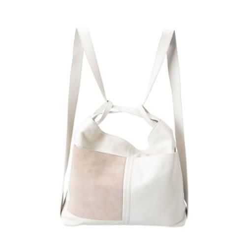 YAYA Ledertasche Weiß mit aufgesetzten Taschen