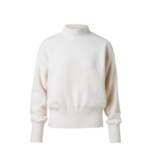 YAYA Oversized Pullover mit Kragen Weiß