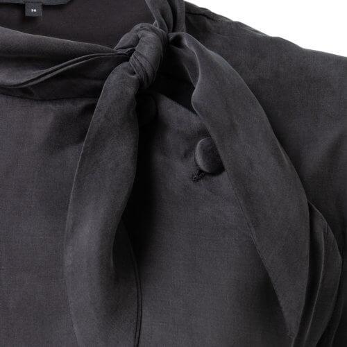 YAYA Cupro Kleid mit hohem Kragen Schwarz