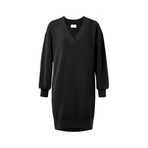 YAYA Modal Kleid Schwarz mit V-Ausschnitt